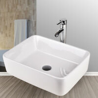 Bathroom Rectangle Porcelain Ceramic Vessel Sink Basin Bowl Faucet Drain Combo