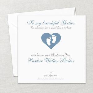 Personalised Handmade Christening Baptism Naming Card Son Boy Godson Grandson