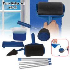 6Pcs/set Paint Roller Runner Brush Pro Wall Painting Handle Flocked Edger Room