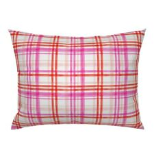 Plaid Pink Red Blush Magenta Valentines Day Girl And Pillow Sham by Roostery