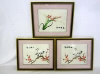 Chinese Embroidery Silks Birds Amongst Foliage Mounted And Framed