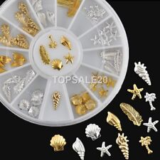 50 Pcs Ocean Life 3D Feather Gold Silver Metal Nail Art Charm Decorations