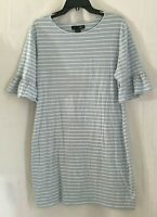 Womens Blue And White Striped Casual A Line Dress Short Ruffle Sleeve Size XL