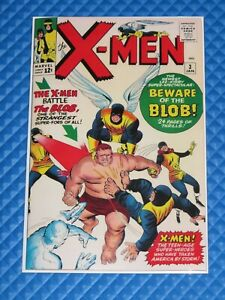 ***X-Men #3 Marvel All Original Interior W/Reproduction Cover Key 1st Blob***