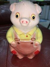 Vintage Pig In Overalls Ceramic Napkin Holder Hog Letter Porcelain Figurine