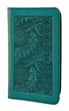 Dandelion Dragonfly Teal Blue Hand Made Leather Checkbook Cover by Oberon Design