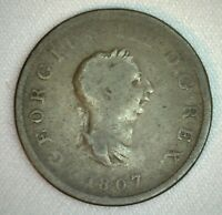 1807 Great Britain 1/2 Penny Coin Half Penny Copper You Grade