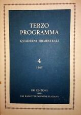 TERZO PROGRAMMA QUADERNI TRIMESTRALI 4 1965 ERI EDIZIONI DELLA RAI