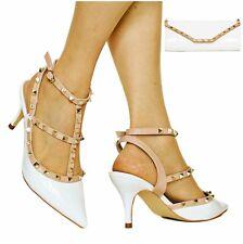 Women Ladies Party Studded Patent Low Mid Heel Court Shoes Pumps Sandals E-46