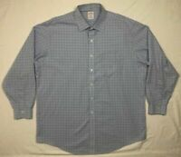 Brooks Brothers Madison Mens Blue Plaid L/S Button Down Dress Shirt Sz 17 1/2 B5