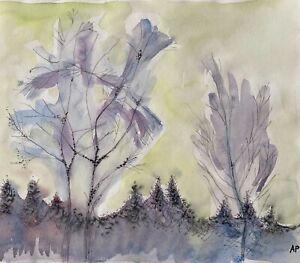 """Audrey Pilkington (1922-2015) """"Welsh Landscape"""" watercolour  c2000"""
