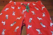 Old Navy Womens Lounge Sleep Pajama Pants Red w/ English Bulldogs Flannel sz M