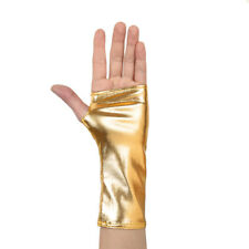 Damen Lack Leder Halbfinger Gloves Kurz Handschuhe Fingerlose Party Kostüm Gold