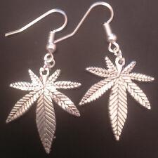 Cannabis leaf weed maple dangle earrings handmade