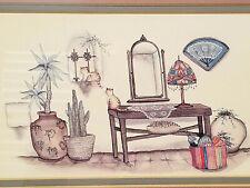 CAROL GREEN Southwest Desert Spanish Cat in Window Framed Watercolor Lithograph