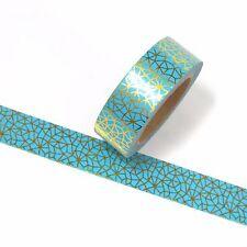 Gold Foil Aqua Washi Tape Metallic 15mm x 10m
