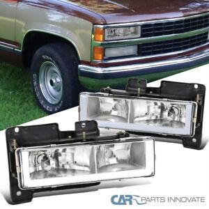For 88-98 Chevy GMC C10 C/K Silverado Sierra Clear Headlights Lamps w/ LED Tube