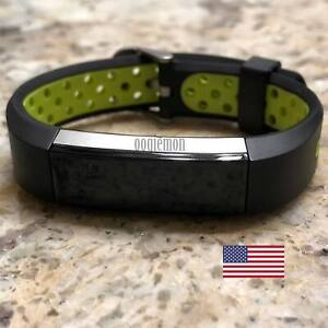 Soft Breathable Silicone Sport Wrist Band Fitbit Alta Fitbit Alta HR BLACK GREEN