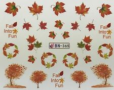 Nail Art Water Decals Autumn Fall Into Fun Trees Orange Leaves BN365