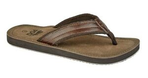 PDQ Leather Look Flip Flops Toe Post Beach Summer Shoes Sandals Brown 6-12 UK