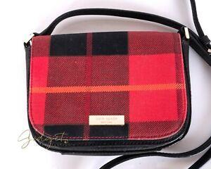 Kate Spade Newbury Lane Carsen Small Black Red Plaid Crossbody Bag