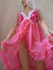 Pink and Frilly  SISSY MAID SHORT BABY DOLL NEGLIGEE/NIGHTIE with matching Thong