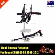 Rearset Rear Set Footpegs Fit 2008 - 2012 Honda CBR1000RR 08 09 10 11 12 Black