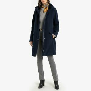 Anne weyburn zip-up mid-length hooded coat with pockets size 24