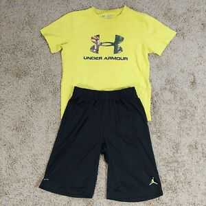 Boys JORDAN basketball shorts UNDER ARMOUR short sleeves T-shirt size large NEW