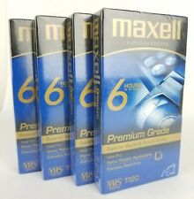 MAXELL Premium Grade 6-Hour T-120 VHS Blank Tapes for VCRs Lot of 4 NEW