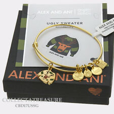 Authentic Alex and Ani Ugly Sweater Shiny Gold Expandable Charm Bangle CBD