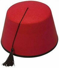 Fez Hat Red Moroccan Turkish Hat Tommy Cooper Costume Fancy Dress Up - New