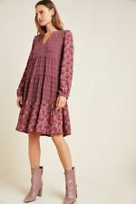 New Anthropologie Wine Maeve Amber Tiered Tunic (small) retail $138