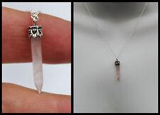 Sterling Silver 925 Rose Quartz Crystal Gem Stone Point Pendant Necklace