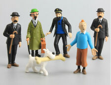 6pcs set The Adventures of Tintin Snowy Captain Haddock Action Figure Doll Toy