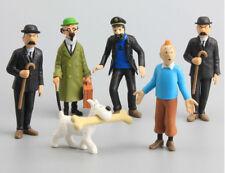 Figurine 6pcs set/Les aventures de Tintin/Milou/Capitaine/professeur/dupon&dupon