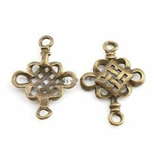 50pcs Hot Charms Hollow Bronze Vintage Chinese Knot Alloy Connector 27x20x3mm D