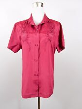 Womens Vtg Retro Crochet Embroidery Fashion Silk Casual Shirt Blouse sz L BB51