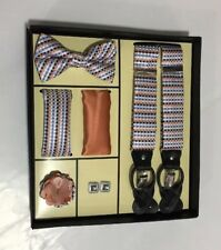 Men's Bowtie 2Hankies Suspender Cufflinks Lapel Pin Steven Land Wardrobe Set #4