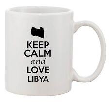 Keep Calm And Love Libya Africa Country Map Patriotic Ceramic White Coffee Mug