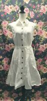 NWT Calvin Klein Button Front Shirt Dress Size 14 Ruffle Sleeve Bow Belted White