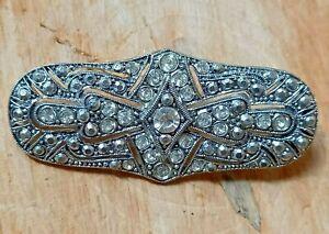 Vintage Retro Brooch Lapel Pin Costume Jewellery Art Deco Style Paste Stones