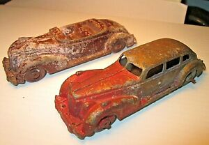 """Pair of OLD HUBLEY diecast CARS.  5 1/2"""""""