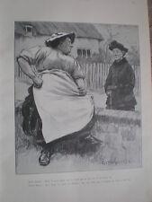Mirando King Cartoon circa un paio di pettegolezzi 1902 stampa ref W2