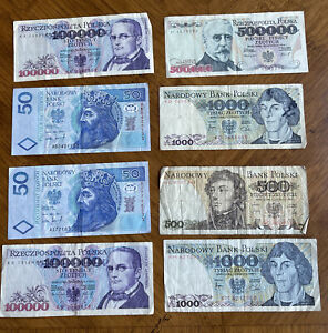 Old Polish Currency.Authentic Banknotes lot of 7