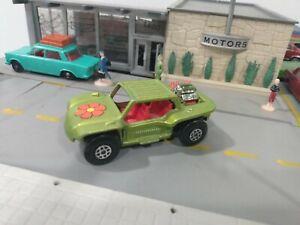 Matchbox Baja Buggy No. 13 Green Diecast Flower 1971 Lesney England 1:64 8803 #A