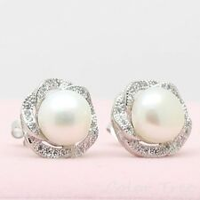 Fashion Women 10mm AAAA Cultured Freshwater White Real Pearl Stud Earrings Shine