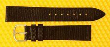 18mm HIRSCH W/R Leather BLACK Watch Strap Band Lizard-Grain 18x16 <NWoT>