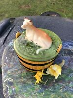 Vintage Ceramic Barrel Lidded Butter Dish-'SECLA Portugal' Majolica-Cow To Lid