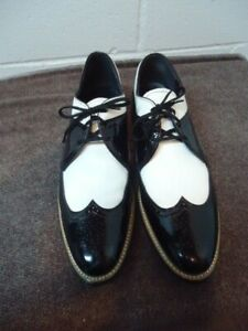 Stacy Adams Dayton Wing Tip Black White Patent Leather Dress Formal Shoes 10.5 D